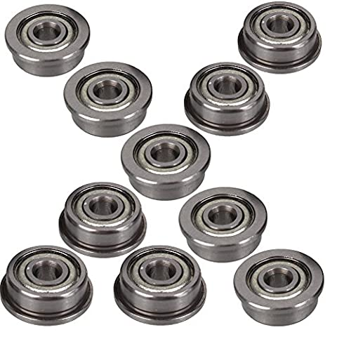 LGDehome 10Pcs Micro stainless steel F623ZZ flange Ball Bearings with edge 3x10x4mm for 3D Printer (Ball Bearings 3d Printer)
