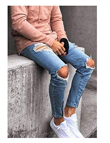 Pantaloni Colour Vintage Casual Denim Jeans Fashion Fit Strappati Ragazzo Da Uomo Slim Chern 7Rw7YPrx