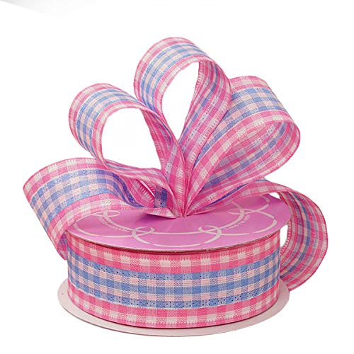 Pink Blue Gingham Easter Ribbon - 1 1/2