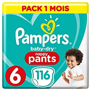 Couches Culottes Pampers Taille 6 (+15 kg) - Baby Dry Nappy Pants, 116 culottes, Pack 1 Mois  /NEW 10