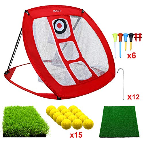 MESIXI Pop Up Golf Chipping Net | Perfect Golf Gifts for Men, Outdoor Indoor Golfing Target Accessories and Backyard Practice Swing Game with 15 Training Balls and Two Hitting Mats (Red)