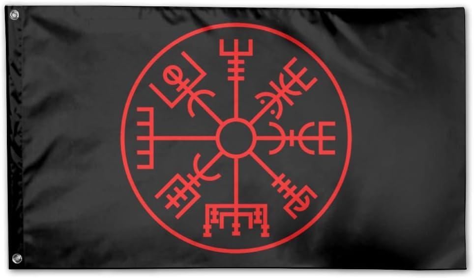 UDSNIS Viking Symbol Nordic Compass Garden Flag 3 X 5 Flag For Yard Decor Banner Black