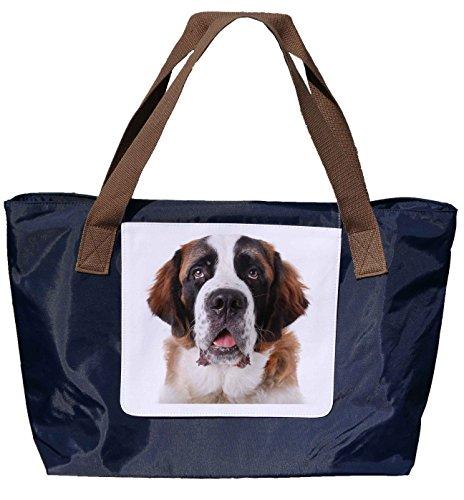 Shopper / Tracolla / Tote Bag / Tote Bag / Borsa A Tracolla In Nylon Blu Navy - Dimensioni 43x33cm - Motivo: Ritratto Bernard Davanti A Uno Sfondo Bianco - 01