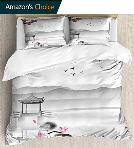 shirlyhome Home Duvet Cover Set,Japanese Style Garden Bird and Small Pavilion Over The Lake Lotus Waterlily Print Quilt Cover Set White Queen Pattern Bedding Collection 87