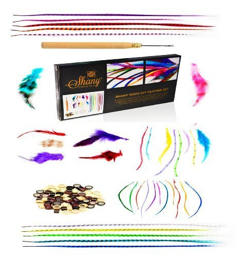 SHANY Cosmetics Feather Hair Extension Kit, 8 Ounce (Feather Hair, Hook, Beads, Feather Grizzly Solid Mix All-In-One) -100 Piece by SHANY