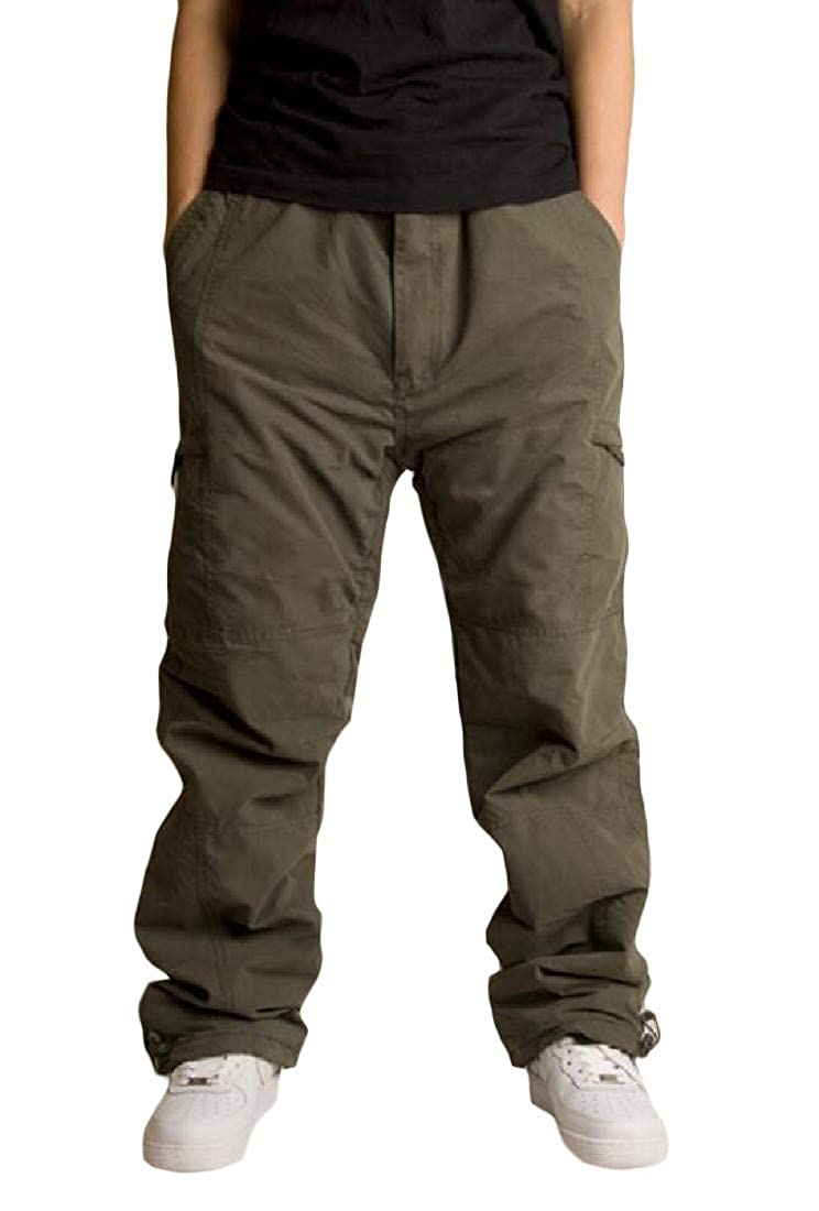 Hajotrawa Men Multi Pockets Outdoor Fleece Thickened Trousers Sport Pants