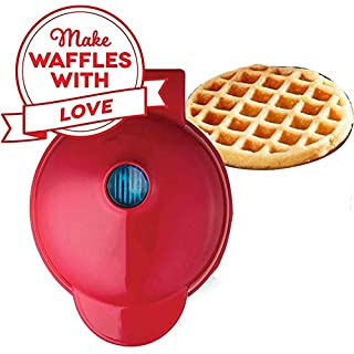 Mini Maker,Portable Electric Round Mini Waffle Maker,The Mini Waffle Maker Machine for Individual Waffles, Paninis, Hash browns,other on the go Breakfast, Lunch, or Snacks - Red