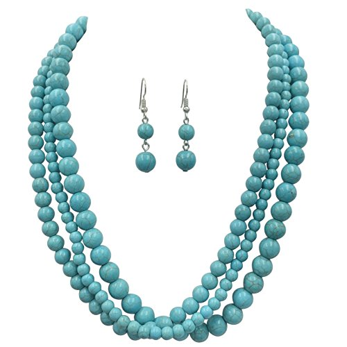 Jewel Tone Necklace Set (3 Row Simulated Turquoise Silver Tone Western Southwestern Look Necklace & Dangle Earring Set (Round))