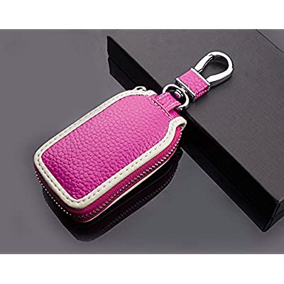 Car Key case Key Bag Wallet - Superior Genuine Leather Auto Car Key FOB Holder Protector Cover Smart Key Chain with Metal Hook and Zipper Closure Universal (Rose Red): Office Products