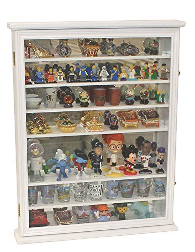 Wall Display Case Cabinet for Miniature Shoes, Miniatures Figurines, Wall Curio Cabinet (White Finish)