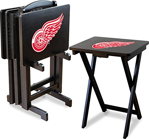 Imperial Wings - Imperial Officially Licensed NHL Merchandise: Foldable Wood TV Tray Table Set with Stand, Detroit Red Wings