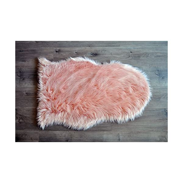 Machine Washable Faux Sheepskin Blush Rug 2′ x 3′ – Soft and silky – Perfect for baby's room, nursery, playroom (Pelt small blush)