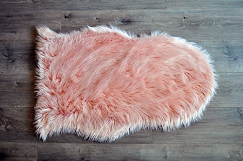 Machine Washable Faux Sheepskin Blush Rug 2' x 3' - Soft and silky - Perfect for baby's room, nursery, playroom (Pelt small blush)