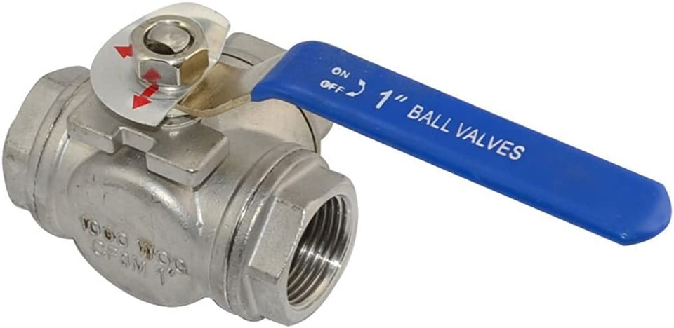 1 Female NPT 316 SS Type L Mounting Pad 3-Way Ball Valve with Vinyl Handle WOG1000