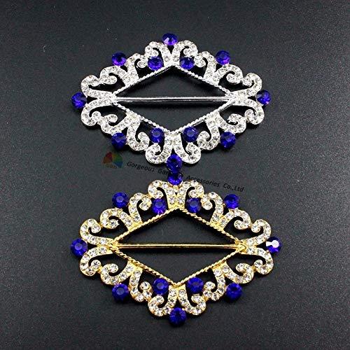 Buckes - 10pcs Diamond Buckle Ribbon Slide Cluster DIY Browband Wedding Chair Sash Clasp Red Royal Navy Crystal Rhinestone Slide Buckle - (Size: Gold, Color: Aquamarine)