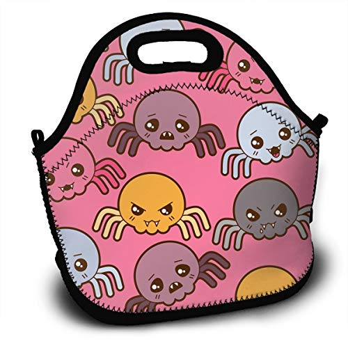SARA NELL Neoprene Lunch Bag Halloween Cute Spider Lunch Tote Bags Lunch Backpack Lunchbox Handbag with Adjustable Shoulder Strap for Work School Outdoor Picnic]()