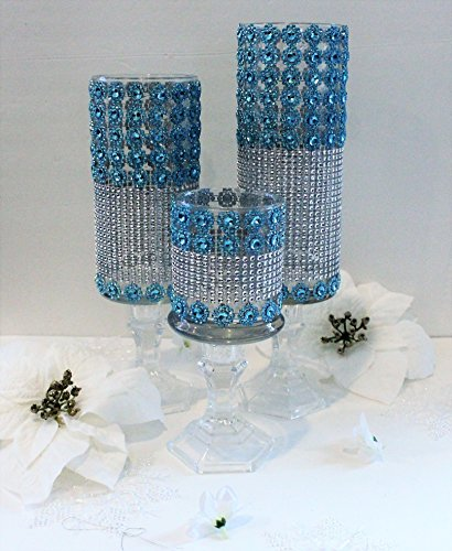 Trend It Up - Bling Candle Holder Set of 3 Vases - Available in Various Colours - Handmade - Turquoise/Robin Egg/Aqua Blue/Green and Silver Rhinestone Candle Holder, Wedding Centerpiece