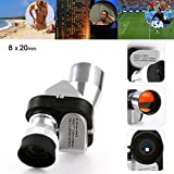 Glumes 8X20 Mini Compact Monocular Telescopes Focus Adjustable Pocket Outdoor Sports for Bird Watching, or Watching Wildlife. Daytime Use Low Night Vision