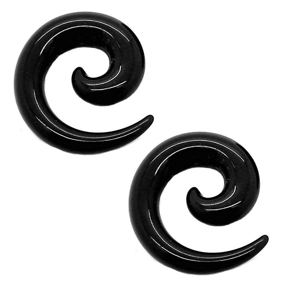 tumundo Set de 16 Piezas / 1 Par Espiral Extensor de Acrilico Dilatador Taper Expansor Stretcher Piercing 1,6-10mm Negro, Farbe2:schwarz / black / noir ...