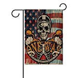 EVERUI Garden Flag Vintage Biker Skull Decorative Flag for Yard Home and Wedding Garden Decor 28 x 40 Inch 100% Polyester Printed on Both Sides