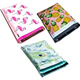 Designer Poly Mailers 10x13 Variety Pack Bundle: Flamingo, Pineapple, Peacock (30 piece set) - Boutique Shipping Supplies - Printed Mailing Envelopes