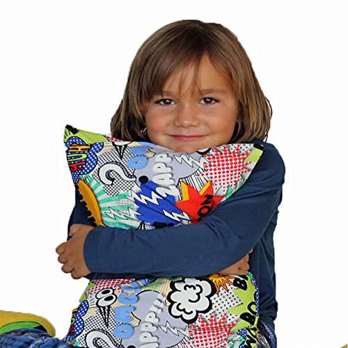 Happyluxe Expedition Kids Pillow , WHAM BAM ZAP!, Machine Washable and Hypoallergenic. For Travel, Toddlers, Airplane, Car, Camping, Sleepovers, 13 x 18, Cotton. Better than a Pillow Pet. Made in USA