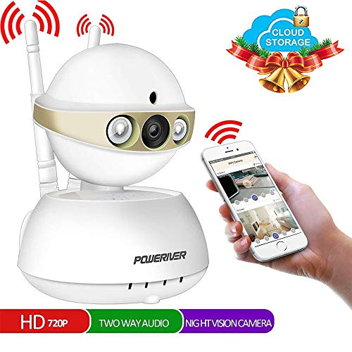 Home Camera,POWERIVER WiFi IP Indoor Security System with Motion Detection,Two-Way Audio and Night Vision for Baby/Pet/Front Porch Monitor,Remote Control with iOS, Android, PC APP(Light Gold)