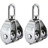 DasMarine 2 Pack Double Pulley Block in 304 Stainless Steel Crane Swivel Hook Double Pulley Roller Loading (M50)