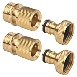 2Sets of Brass Male and Female 3/4 Inch Garden Hose End and Quick Connectors