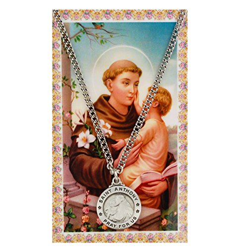 Saint Anthony 3/4-inch Pewter Medal Pendant with Holy Prayer Card
