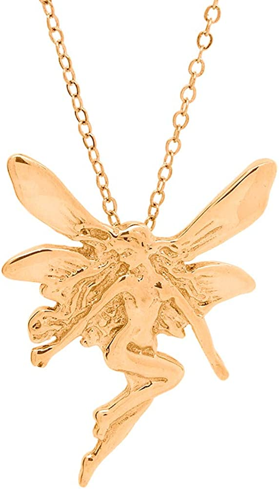 Moores Jewelers 14k Yellow Gold Plated Magical Fairy Necklace w// 18 Cable Chain