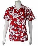 Made in Hawaii ! Women's Classic Hibiscus Flowers Hawaiian Aloha Camp Shirt (S, RED)