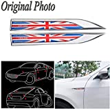 CHAMPLED UK Flag x 2 Car Auto Truck Chrome Metal Decal England Sticker 3D Emblem Badge For BMW M BENZ AUDI VW VOLKSWAGEN VOLVO JAGUAR