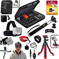 "Xtech® IDEAL ACCESSORIES KIT for GoPro HERO4 Hero 4 Includes: Head Strap Mount, 16GB High Speed Memory Card + High Capacity AHDBT-401 Battery + Quick Dual Charger + 12"" inch Highly Flexible Tripod + Custom Large size Case, Hand Held Monopod + Floating Foam Strap + Remote Wrist Strap + Gold plated HDMI Cable + Universal Card Reader + Mini Table Tripod + Ultra Fine HeroFiber Cleaning Cloth"
