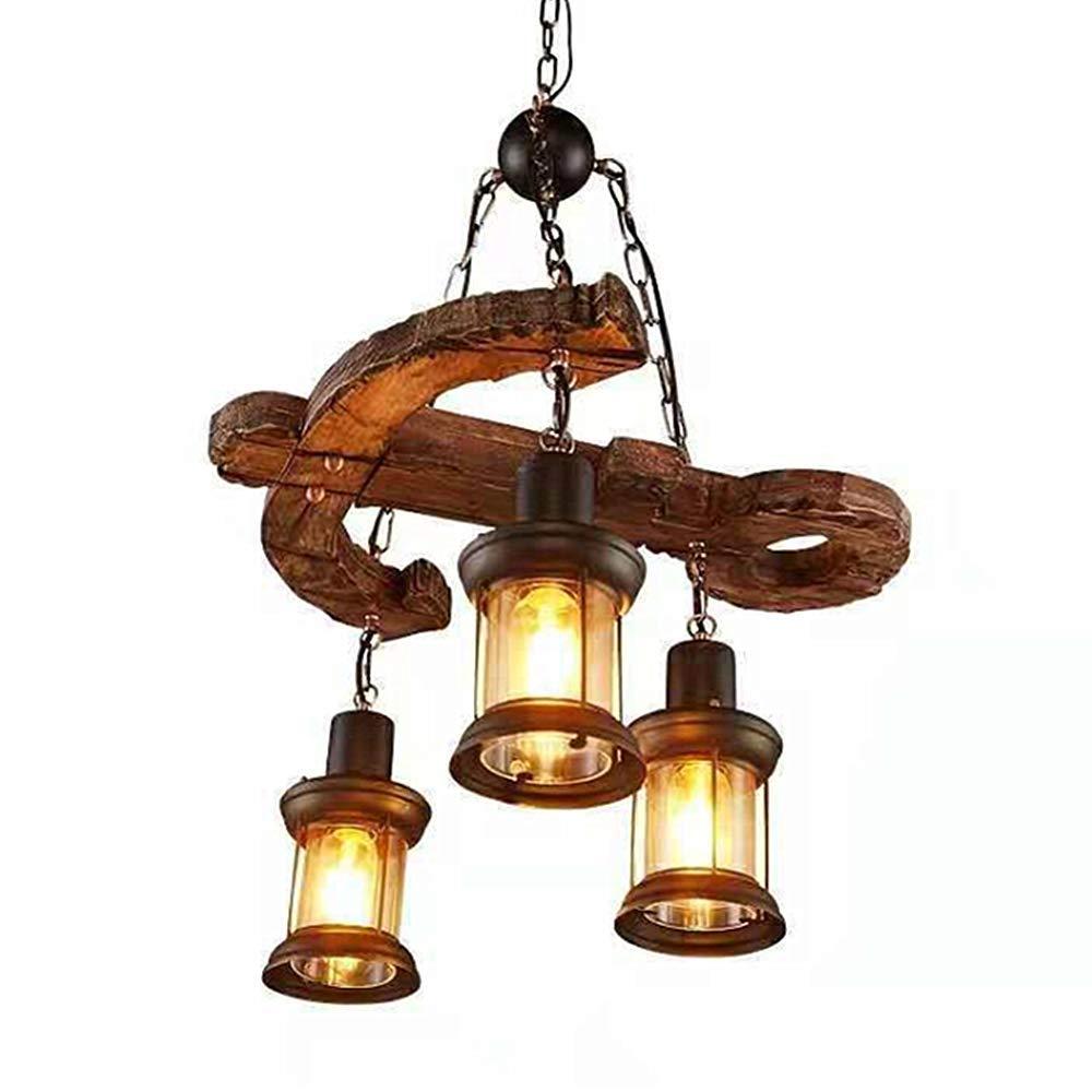 LADIQI Industrial Hanging Lantern Chandelier 3 Lights Loft Wooden Anchor Pendant Lighting Fixture for Kitchen Bar Restaurant