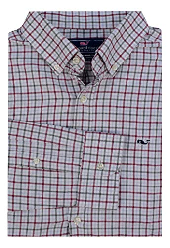 Vineyard Vines Men's Long Sleeve Button Down Whale Shirt Oxford (Flannel Cocktail Club Check/Red Wine, Medium)