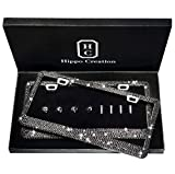 2 Pack Black Prong Setting Luxury Handcrafted Bling License Plate Frame with GiftBox | Over 1000 pcs Finest 14 Facets Black Rhinestone Crystals | Perfect Car Accessories for All Standard Plate Size