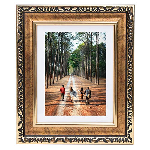 Beyond Your Thoughts 8x10 Picture Photo Frame Antique with Matted for 5X7 Gold Color, Vertical or Horizontal, Table Top and Wall Mounting ()