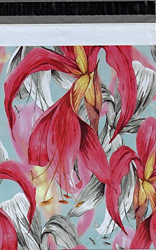 10x13 (100) Red Tropical Flowers Poly Mailers Shipping Envelopes Boutique Custom Bags 10 x 13 by ValueMailers