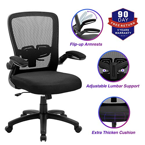 Office Chair, ZLHECTO Ergonomic Desk Chair with Adjustable Height and Lumbar Support, High Back Mesh Computer Chair with Flip up Armrests for Conference Room - 300lb Weight Capacity (Black)