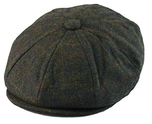 (Men's Classic 8 Panel Wool Blend Newsboy Snap Brim Collection Hat (X-large, Olive Plaid))