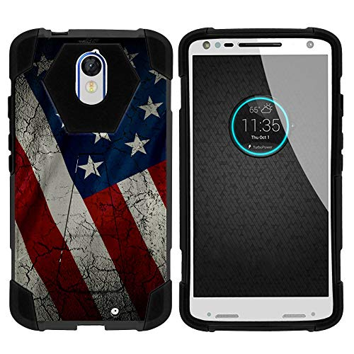 TurtleArmor | Compatible for Motorola Droid Turbo 2 Case | Moto X Force Case [Dynamic Shell] Hybrid Dual Layer Hard Shell Cover Kickstand Silicone Case - American Flag