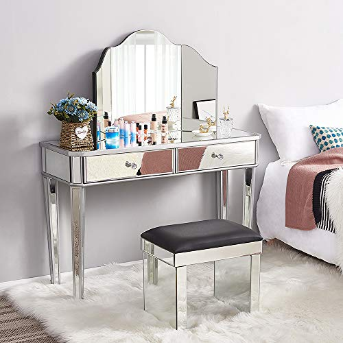 Panana - Mesa Tocador de Maquillaje Cristal con Espejo Triple Vidrio y Cajoneras Centrales Armario Dormitorio Salon Belleza Elegante Diseno Moderno Lujoso Moda (Cojunto-3pcs)