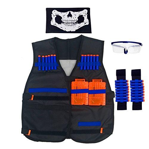 Tiannuofa Tactical Vest Kit for Nerf N-Strike Elite Series + 20-Dart Refill + Vision Gear + 5-Dart Quick Reload Clip + 8-Dart Hand Wrist Band + Face Tube Mask …