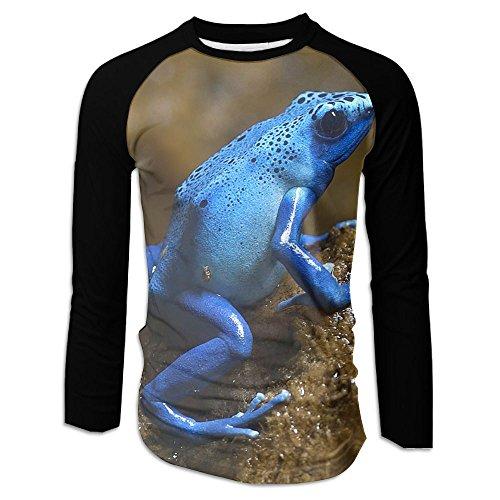 Mens Novelty 3D Graffiti Graphic Tee Cool Long Sleeve Baseball T-shirt Casual Round Neck Raglan Shirt Sport Tees Blue Frog Small? (Im Drunk Green T-shirt)