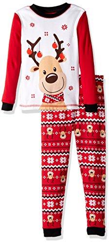 Komar Kids Boys' Toddler Holiday Print 2 Piece Cotton Tight fit Pajama Set, Reindeer Fairisle, -