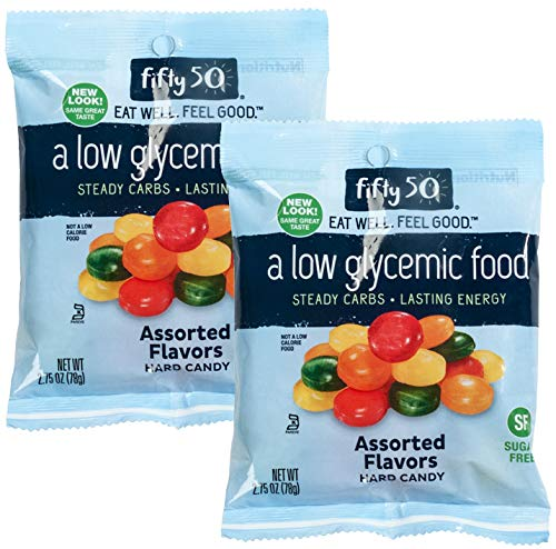 Fifty 50 Foods Kosher Sugar Free Assorted Fruit Hard Candy, 2.75 Ounce (Pack of 2)]()