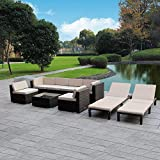 MAGIC UNION Outdoor Patio PE Rattan Wicker Cushion Patio Furniture Conversation Sets 9 Pieces Sofa Set