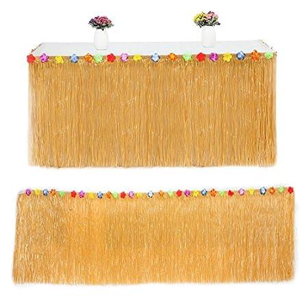 Giveme5 - Falda de mesa de hierba hawaiana con flores de hibisco ...