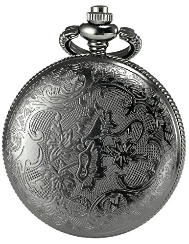 AMPM24 Women Men's Dad Black Dangle Pendant Pocket Quartz Watch Gift + Chain WPK051 by KS (Image #1)